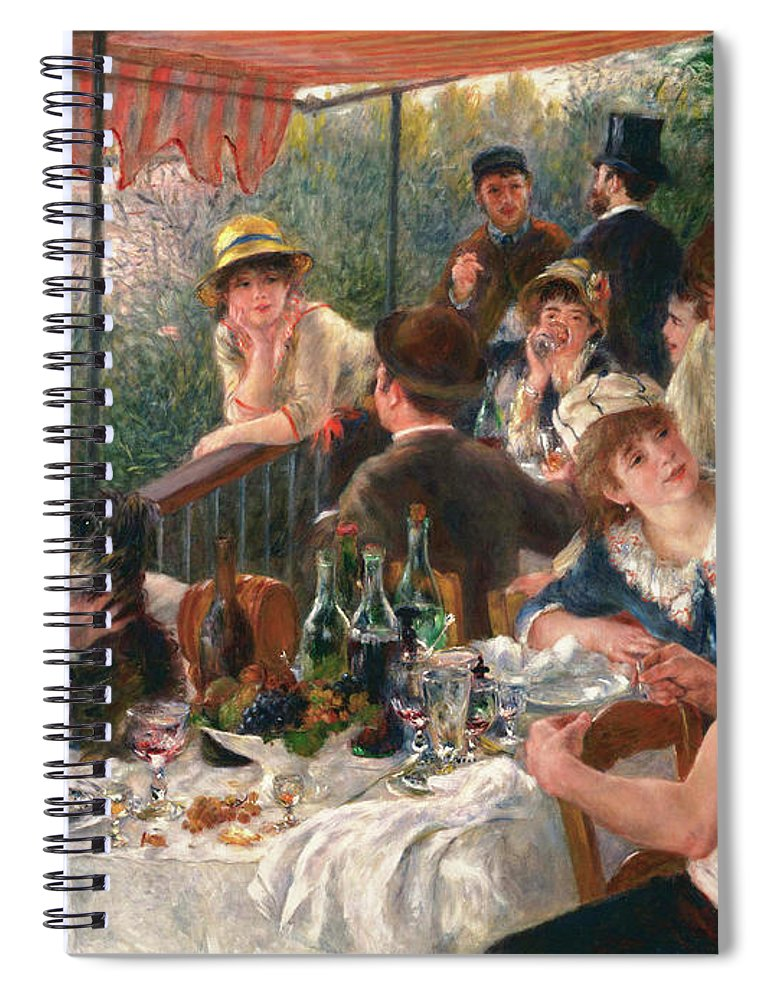 Luncheon Of The Boating Party Spiral Notebook featuring the painting Luncheon Of The Boating Party by Pierre-Auguste Renoir