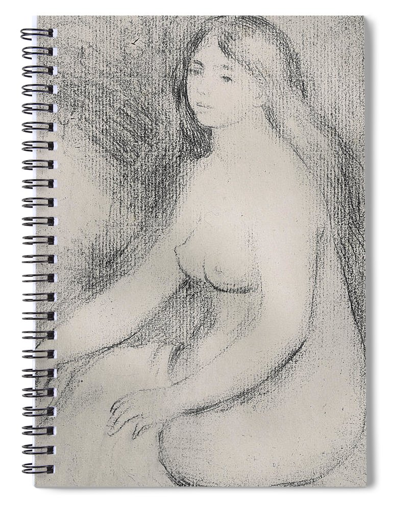Renoir Spiral Notebook featuring the drawing Seated Bather by Pierre Auguste Renoir