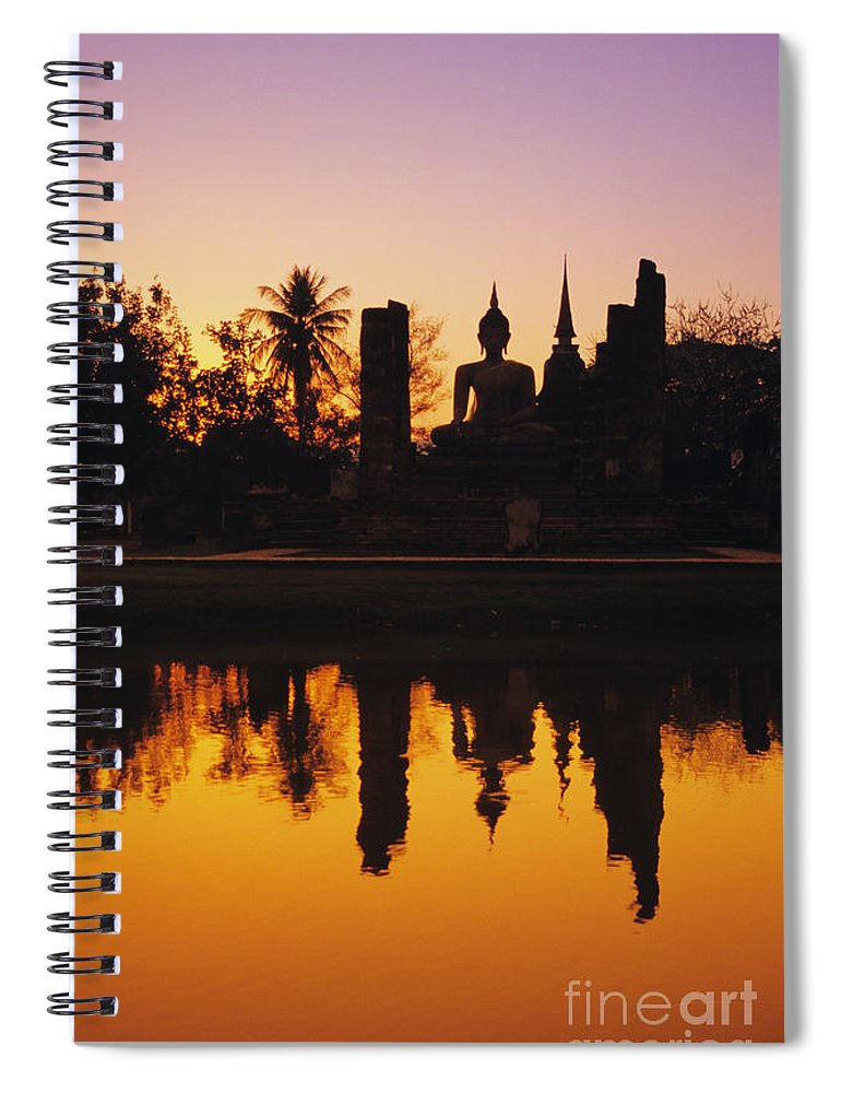 Ancient Spiral Notebook featuring the photograph Wat Mahathat by Gloria & Richard Maschmeyer - Printscapes