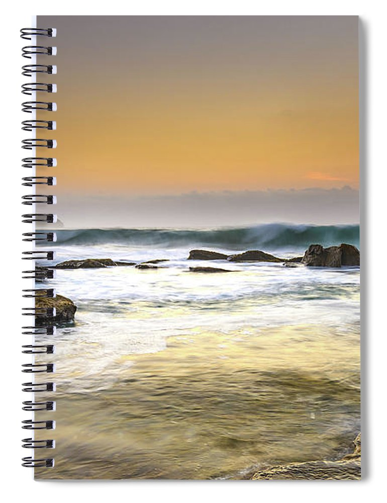 Australia Spiral Notebook featuring the photograph Hazy Dawn Seascape With Rocks by Merrillie Redden