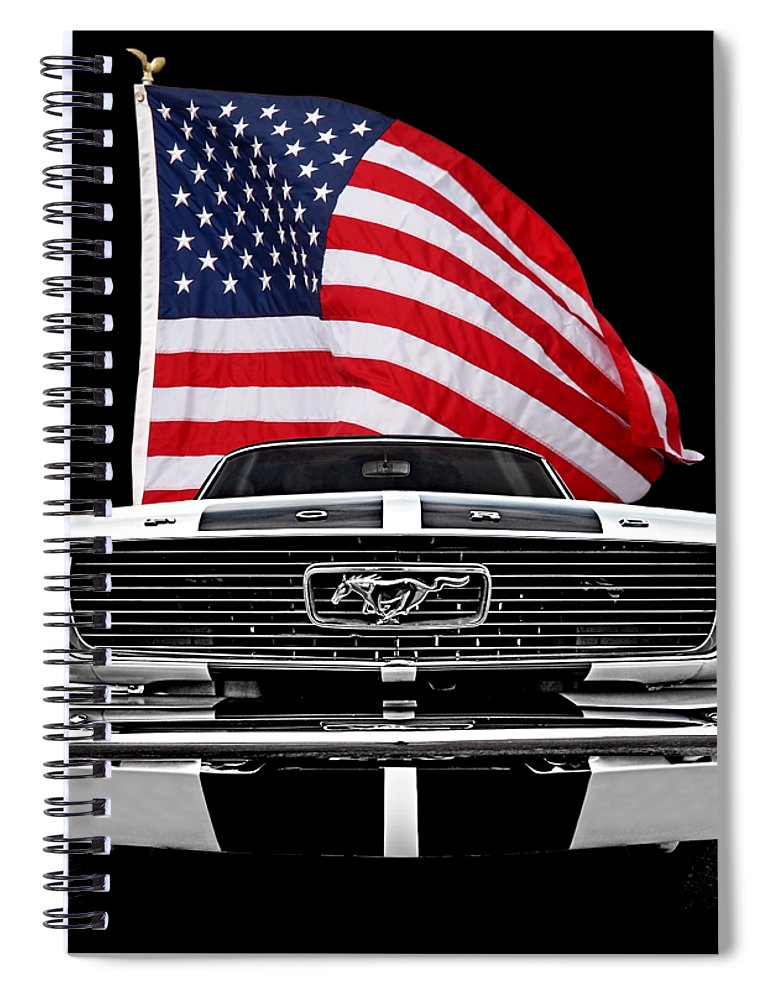 Ford Mustang Spiral Notebook featuring the photograph 66 Mustang With U.s. Flag On Black by Gill Billington