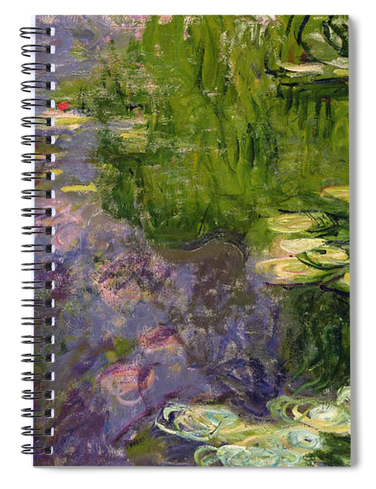 Nympheas; Water; Lily; Waterlily; Impressionist; Green; Purple Spiral Notebook featuring the painting Waterlilies by Claude Monet