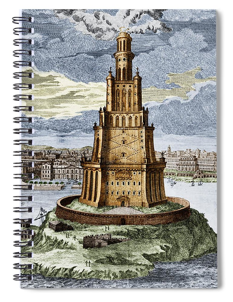 History Spiral Notebook Featuring The Photograph 7 Wonders Of World Lighthouse By Photo Researchers