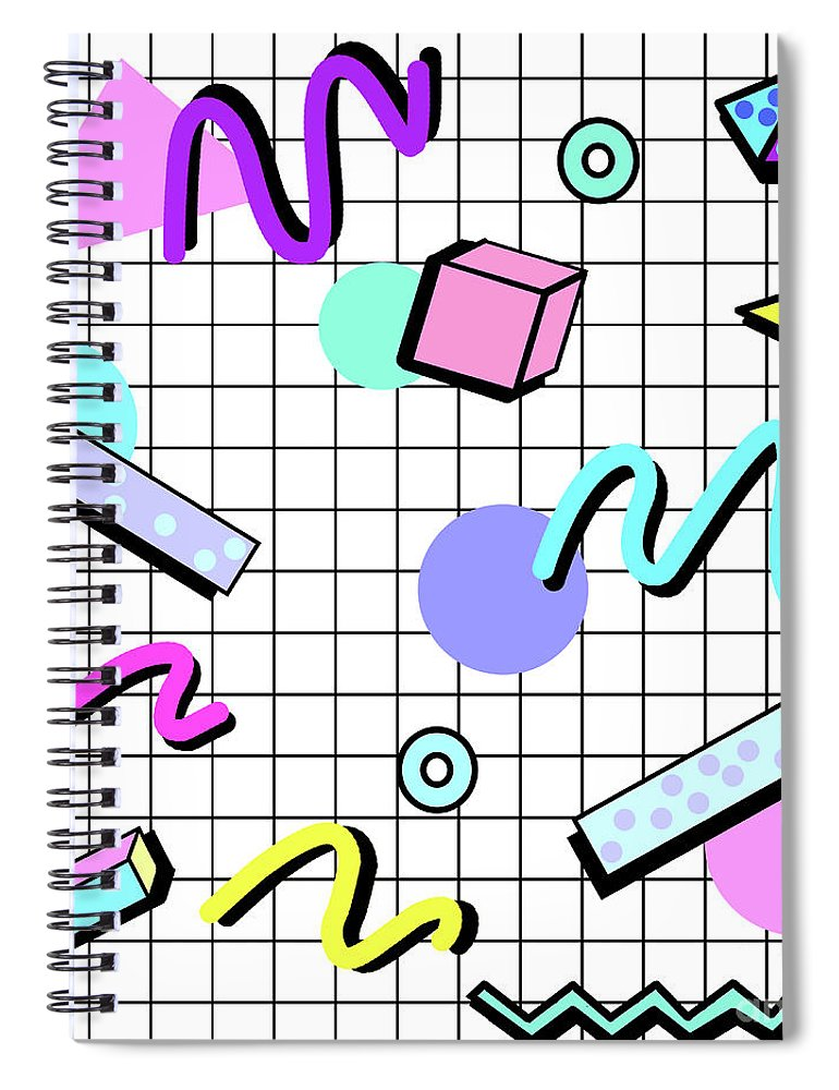 80s Retro Party Grid Spiral Notebook