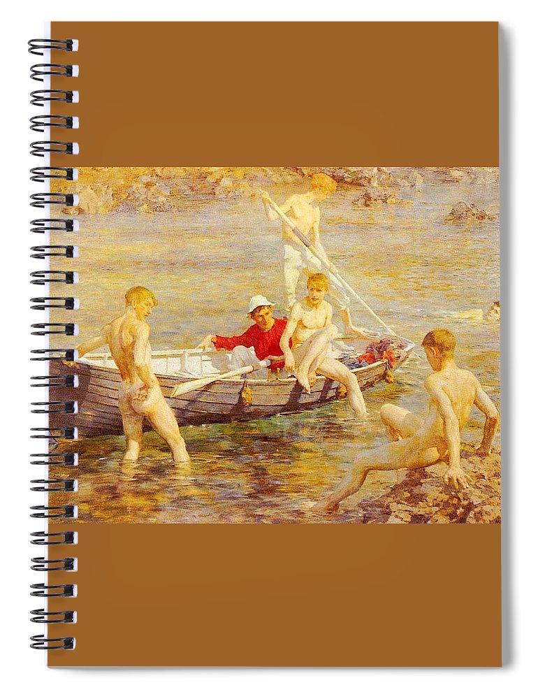 Canal Spiral Notebook featuring the digital art Tuke Henry Scott Ruby Gold And Malachite Henry Scott Tuke by Eloisa Mannion