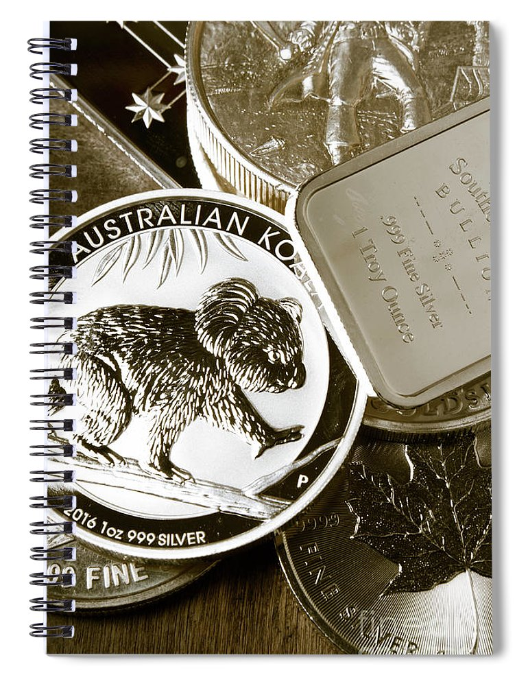 Money Spiral Notebook featuring the photograph 999 Silver Mint by Jorgo Photography - Wall Art Gallery