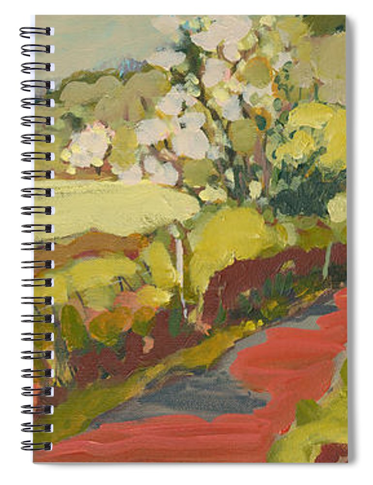 Landscape Spiral Notebook featuring the painting A Bend in the Road by Jennifer Lommers