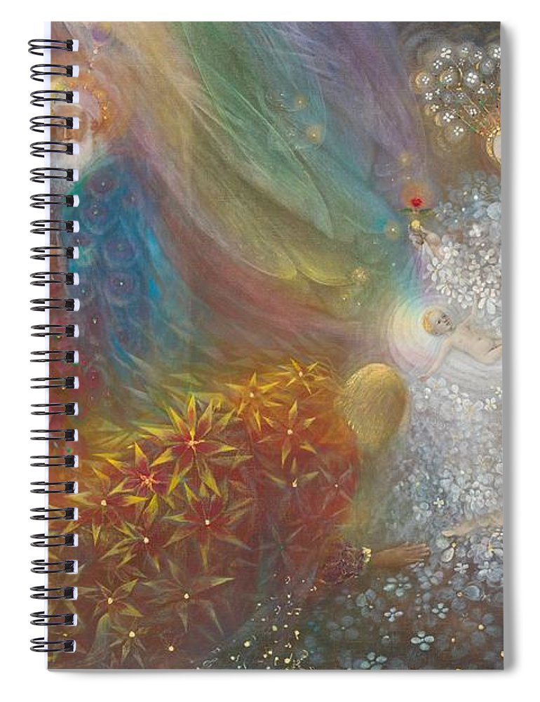 Nativity Spiral Notebook featuring the painting A Child Is Born by Annael Anelia Pavlova