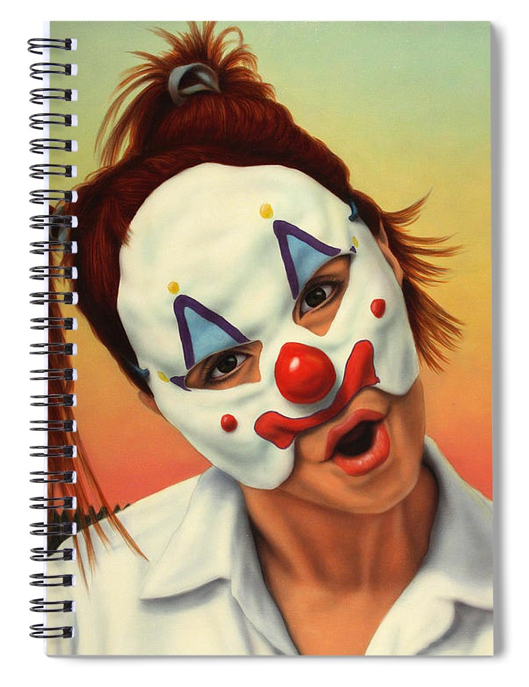 Clown Spiral Notebook featuring the painting A Clown In My Backyard by James W Johnson