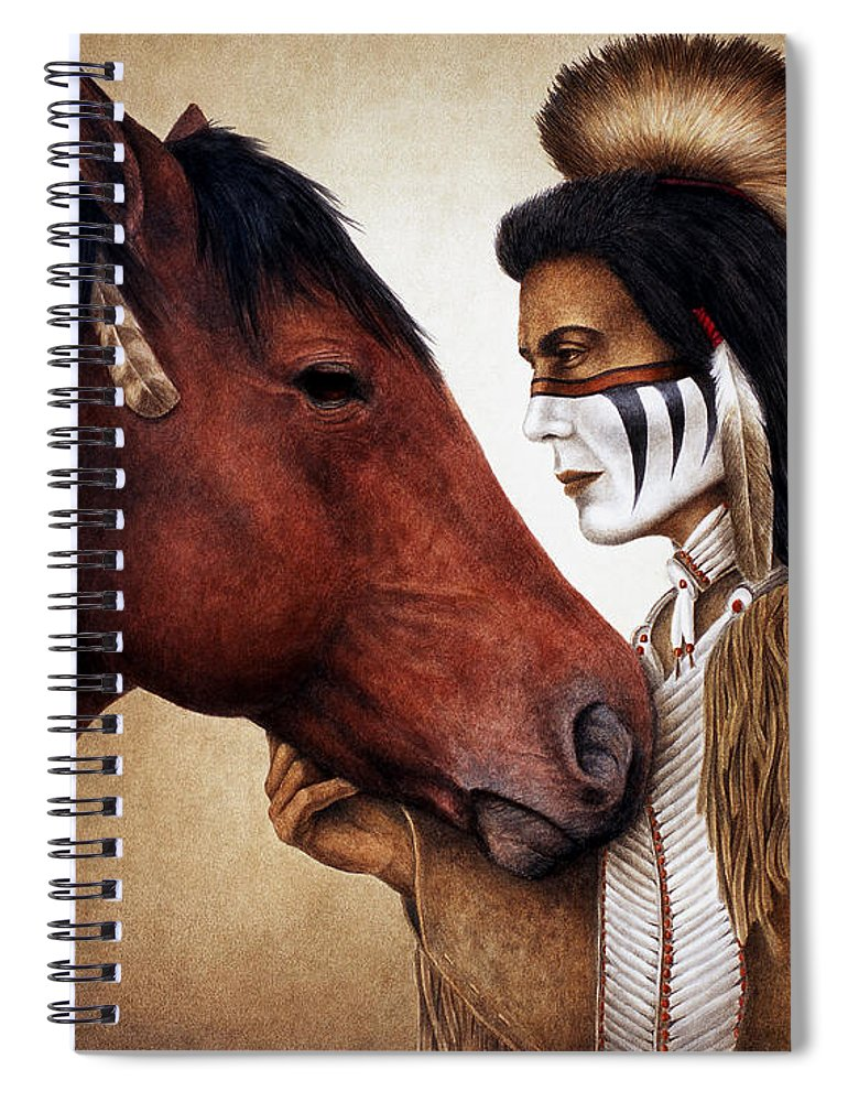 Horse Spiral Notebook featuring the painting A Conversation by Pat Erickson
