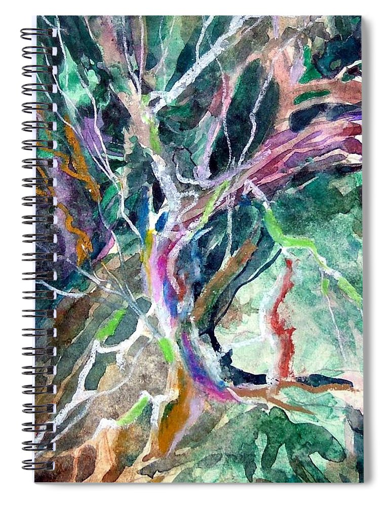 Tree Spiral Notebook featuring the painting A Dying Tree by Mindy Newman
