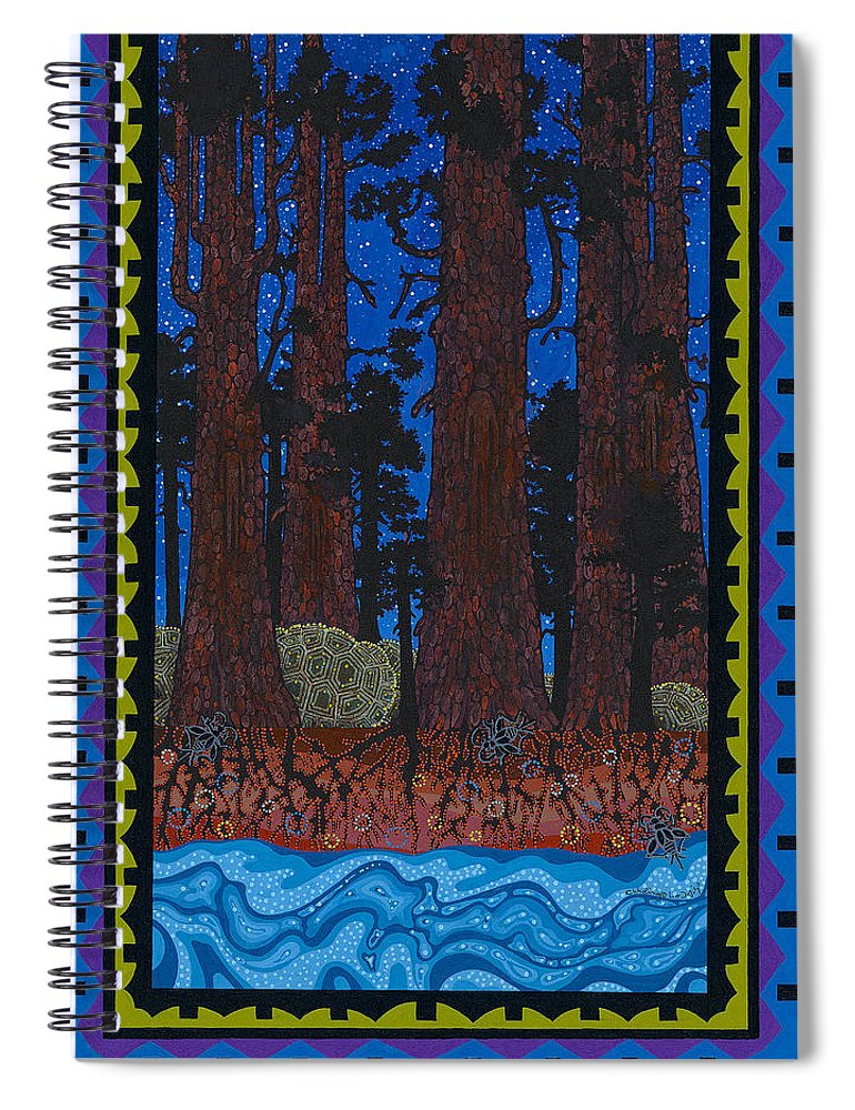 Native American Spiral Notebook featuring the painting A Forest Whispers by Chholing Taha