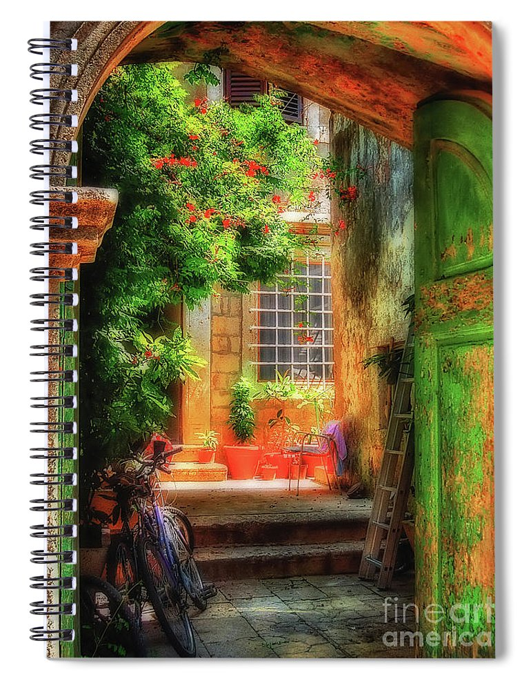 Doorway Spiral Notebook featuring the photograph A Glimpse by Lois Bryan
