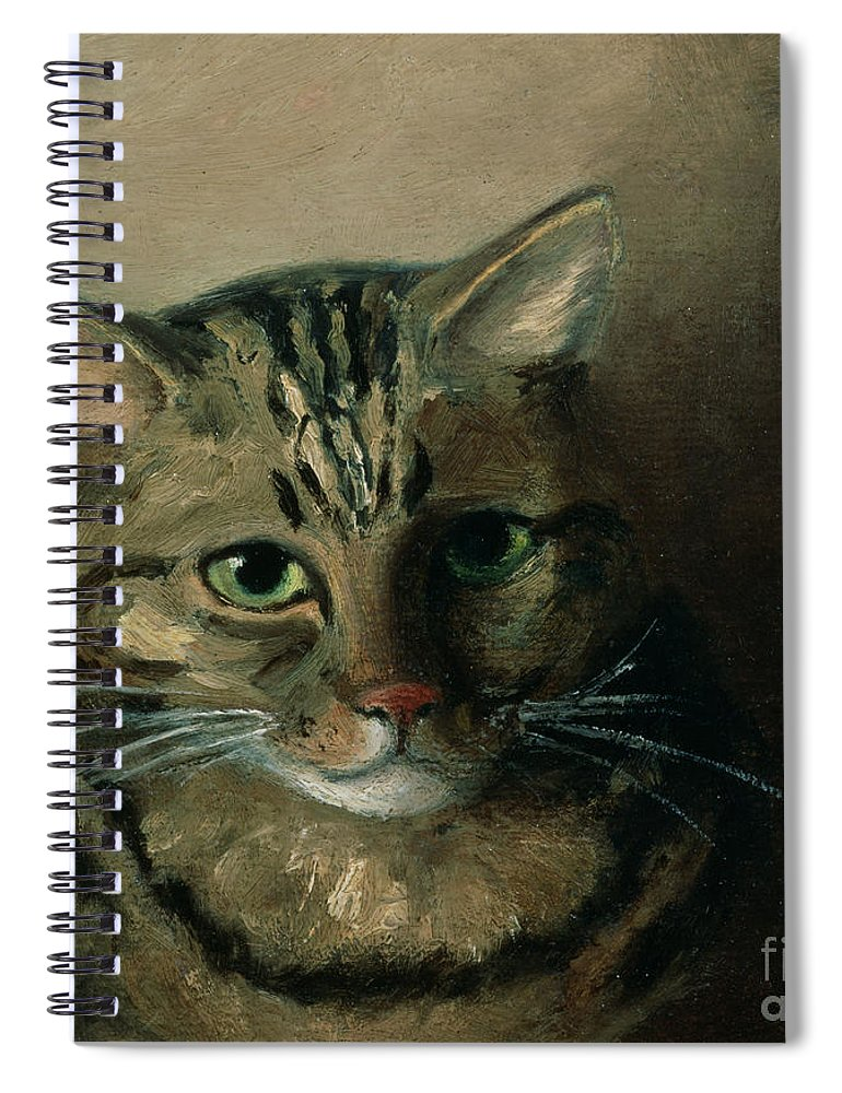 aed12c74608 A Head Study Of A Tabby Cat Spiral Notebook featuring the painting A Head  Study Of