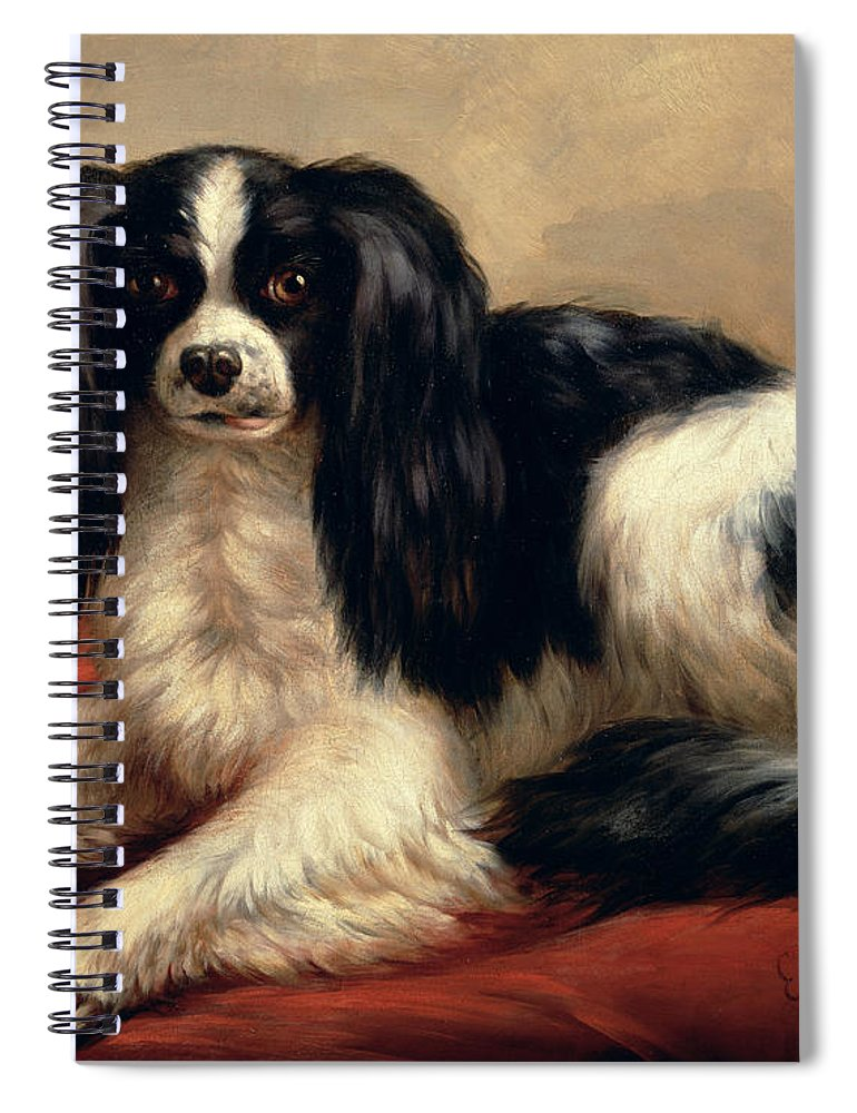 A King Charles Spaniel Seated On A Red Cushion Spiral Notebook featuring the painting A King Charles Spaniel Seated On A Red Cushion by Eugene Joseph Verboeckhoven