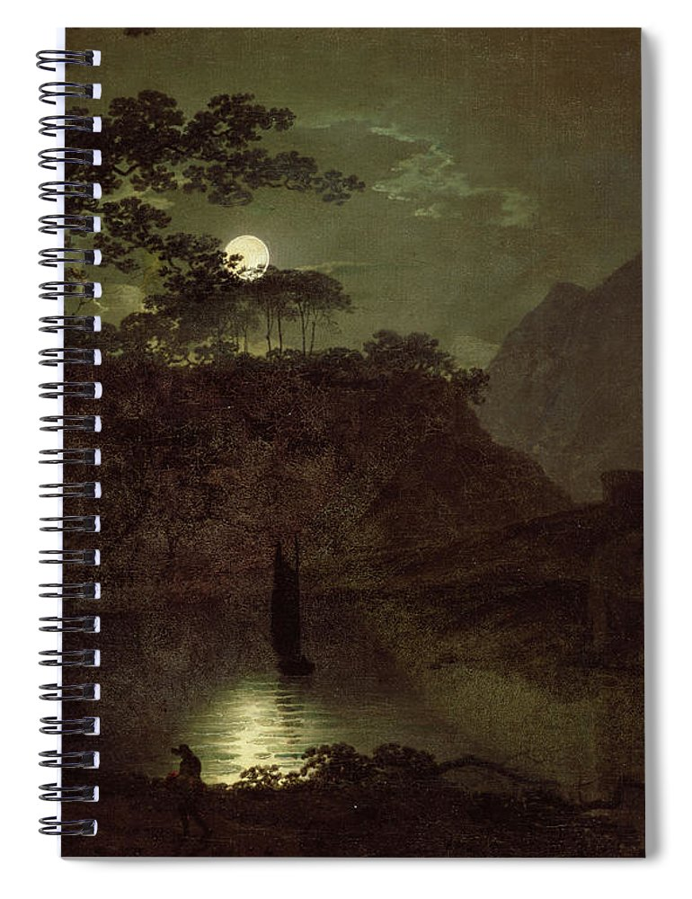 Lake Spiral Notebook featuring the painting A Lake By Moonlight by Joseph Wright of Derby