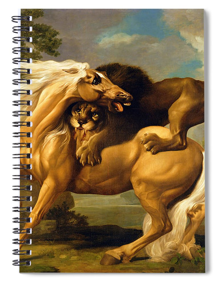 Lion Spiral Notebook featuring the painting A Lion Attacking A Horse by George Stubbs