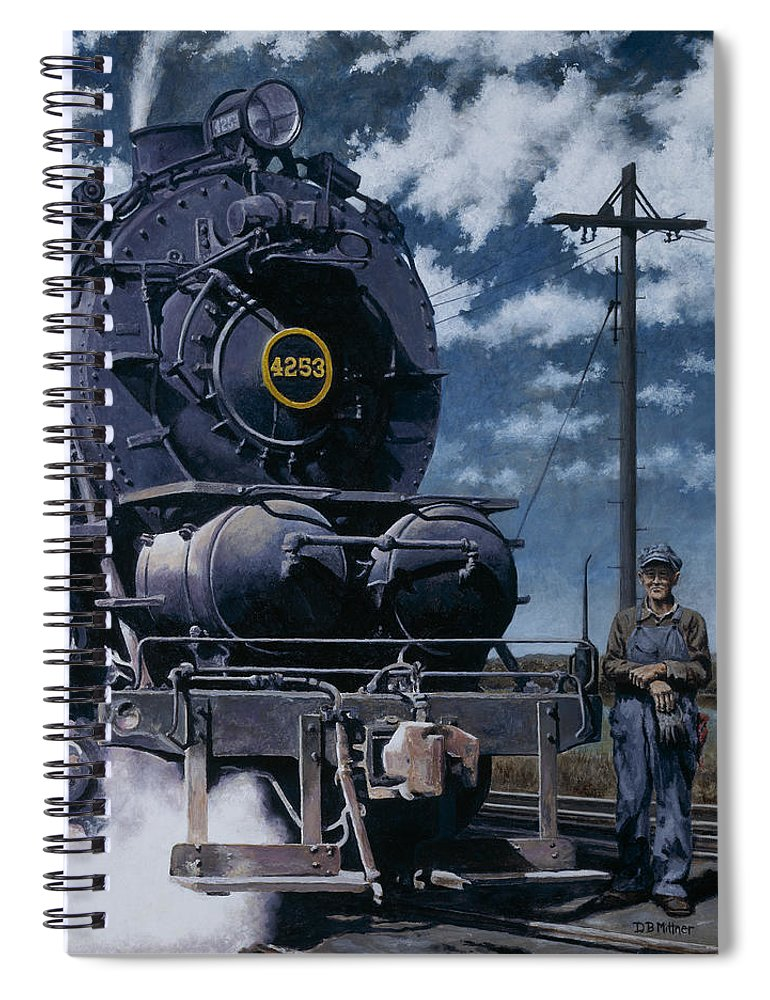 Trains Spiral Notebook featuring the painting A Man and His Machine by David Mittner