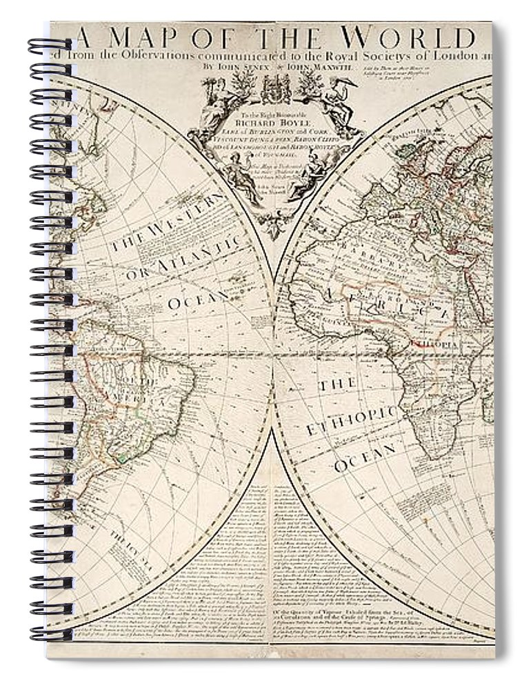 Map Spiral Notebook featuring the painting A Map of the World by John Senex