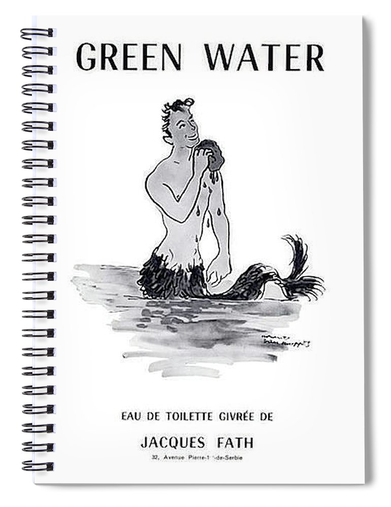 Vintage Perfume Ad Spiral Notebook featuring the digital art A Merman by ReInVintaged