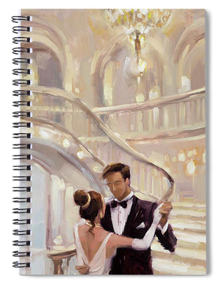 Romance Spiral Notebook featuring the painting A Moment in Time by Steve Henderson