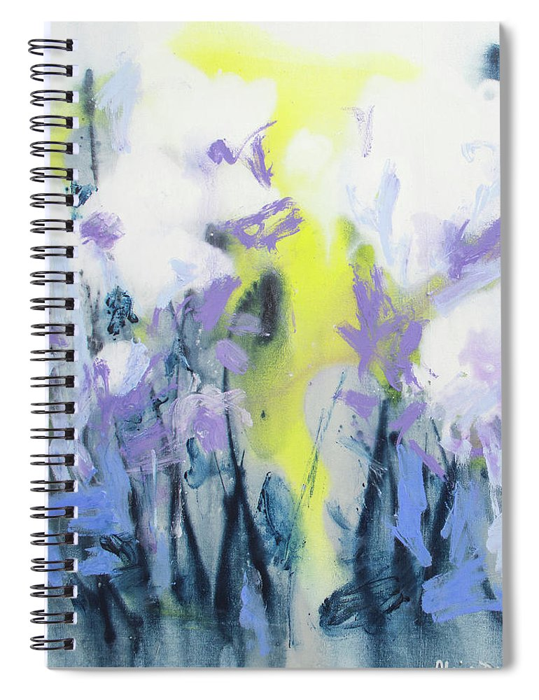 Abstract Spiral Notebook featuring the painting A Patch Of Purple by Claire Desjardins
