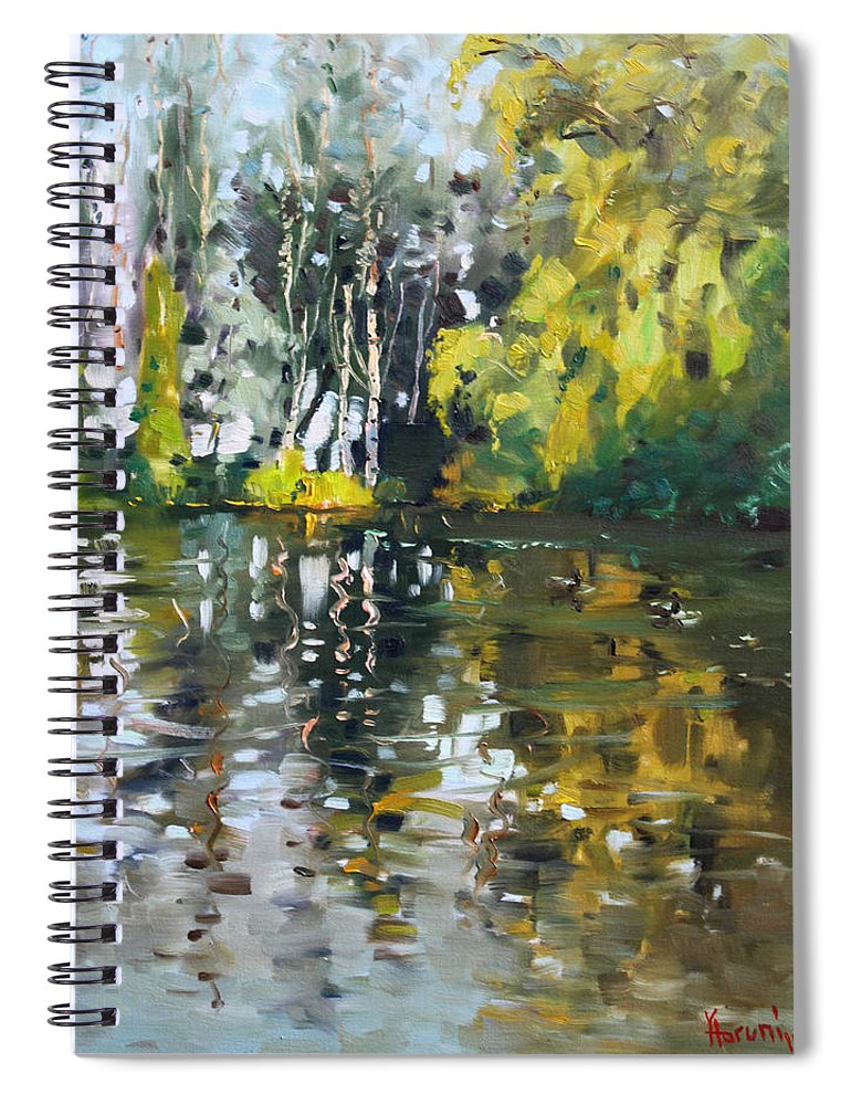 Landscape Spiral Notebook featuring the painting A Quiet Afternoon Reflection by Ylli Haruni