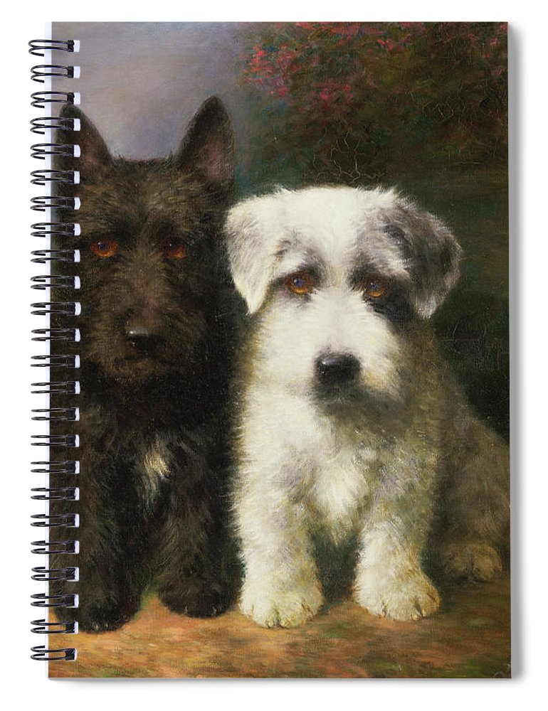 Dogs Spiral Notebook Featuring The Painting A Scottish And Sealyham Terrier By Lilian Cheviot