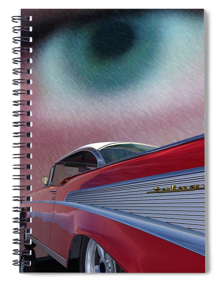 Classic Cars Spiral Notebook featuring the digital art A Second Look by Richard Rizzo