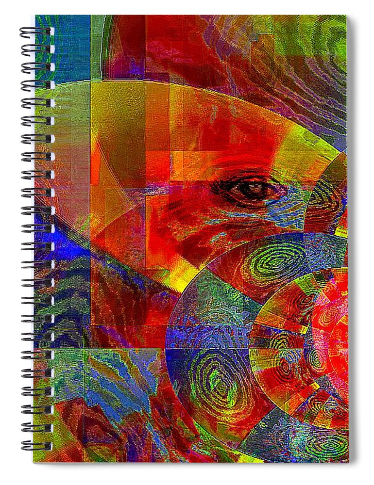 Fania Simon Spiral Notebook featuring the mixed media A Special Kind Of Love by Fania Simon