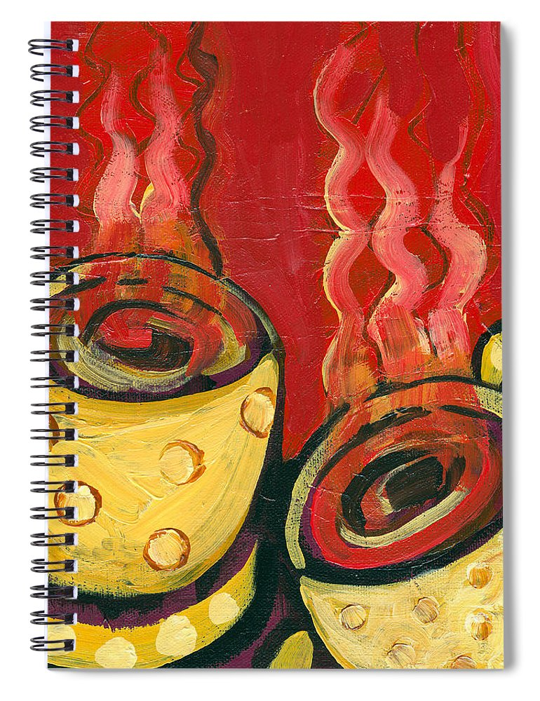 Coffee Spiral Notebook featuring the painting A Steaming Romance by Jennifer Lommers