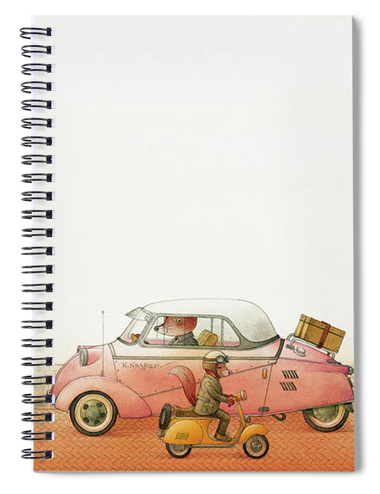 Striped Zebra Cat Cars Street Traffic Old Town Red Children Illustration Book Animals Spiral Notebook featuring the drawing A Striped Story02 by Kestutis Kasparavicius