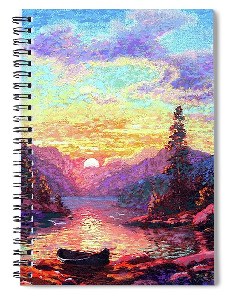 Sunset Spiral Notebook featuring the painting A Time For Peace by Jane Small