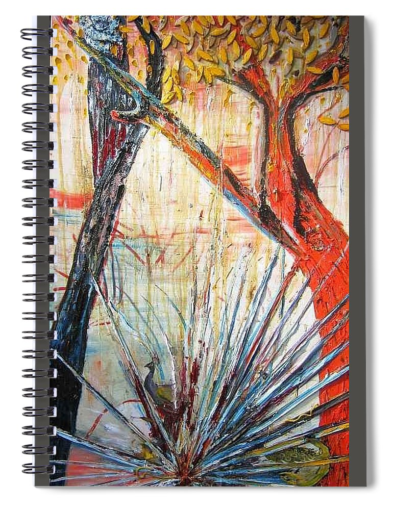 Trees Spiral Notebook featuring the painting A Tribute by Peggy Blood