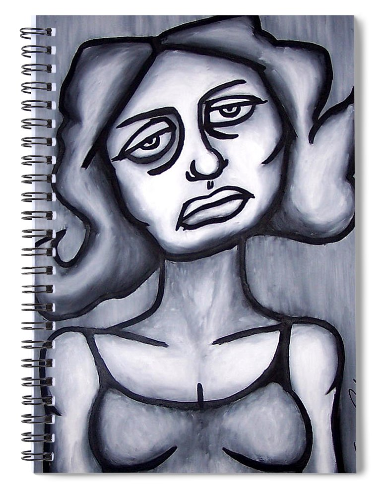Portait Spiral Notebook featuring the painting A Woman by Thomas Valentine