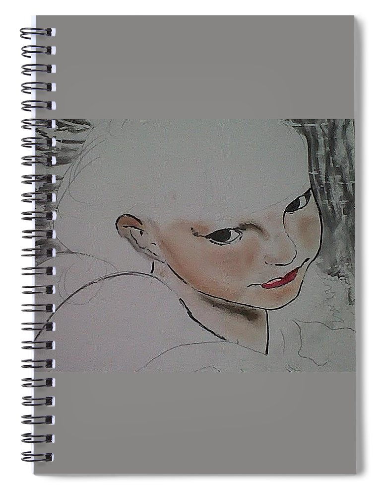 Angel Spiral Notebook featuring the drawing Abby's flowers unfinished by J Bauer