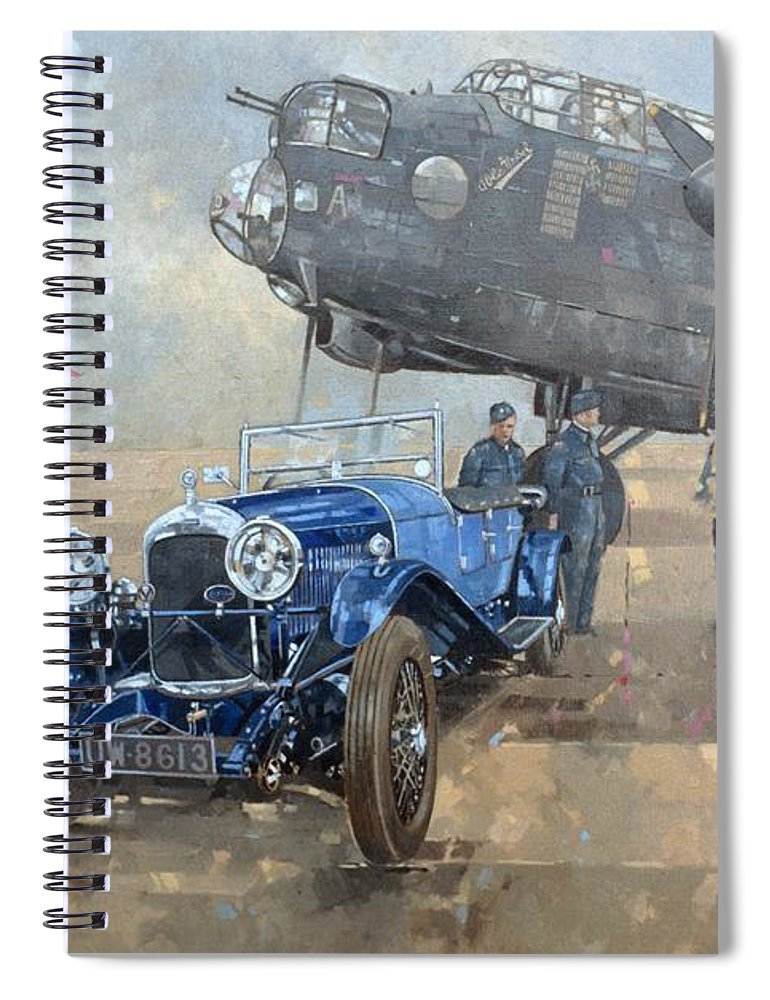 Car; Vehicle; Airplane; Aeroplane; Plane; Military; Air Force; Vintage; Classic Cars; Vintage Car; Nostalgia; Nostalgic; Blue Lagonda Spiral Notebook featuring the painting Able Mable And The Blue Lagonda by Peter Miller