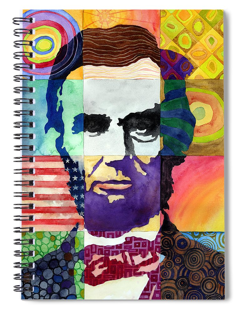 Abraham Spiral Notebook featuring the painting Abraham Lincoln Portrait Study by Hailey E Herrera