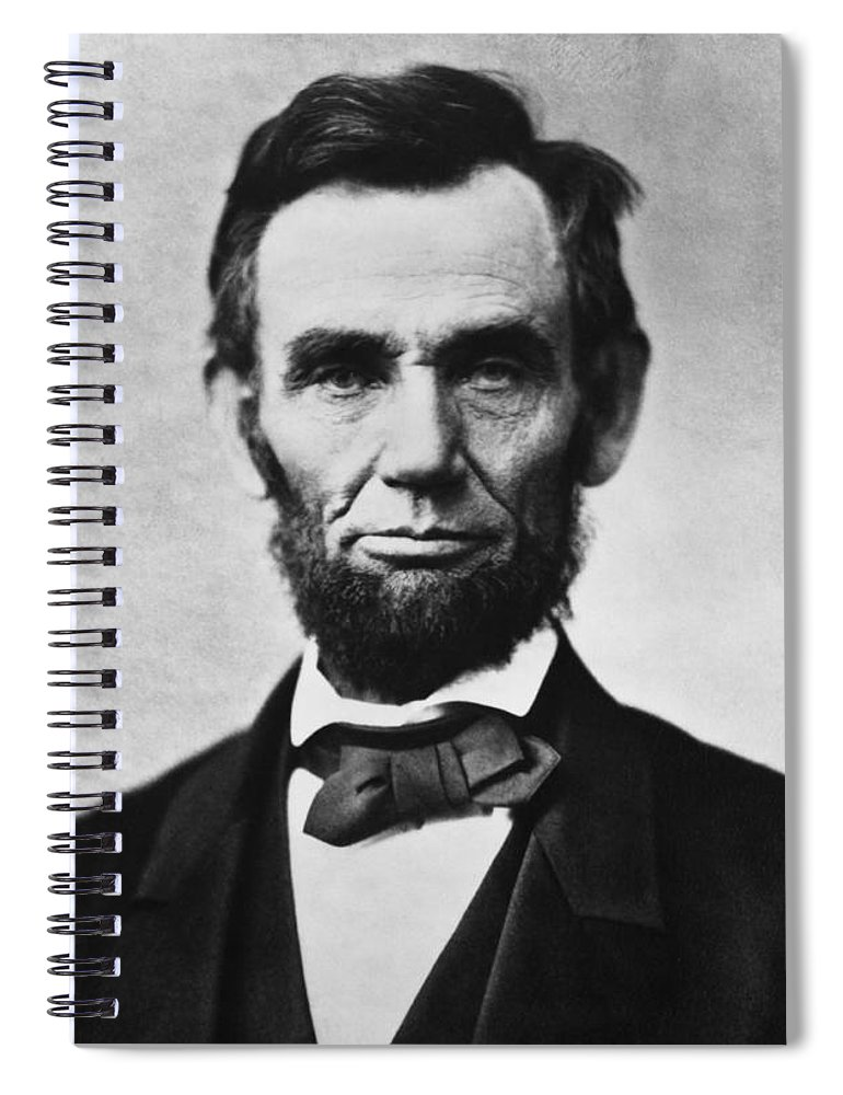 Abraham Lincoln Spiral Notebook featuring the photograph Abraham Lincoln by War Is Hell Store