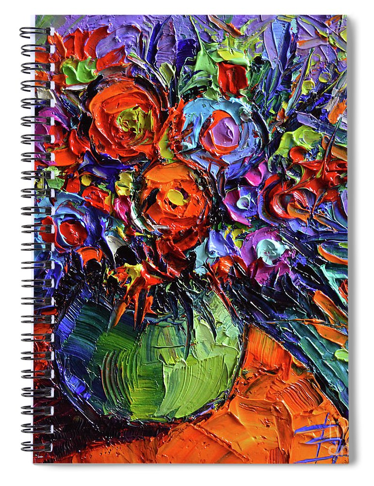 Simple Elegant Abstract Floral Orange Table Palette Knife Oil Painting Spiral Notebook featuring the painting Abstract Floral Review - Simple Elegant orange flower painting HD