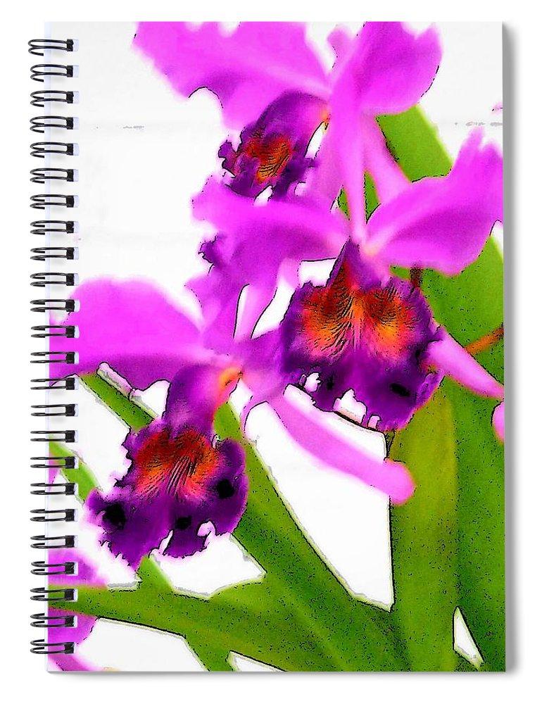 Flowers Spiral Notebook featuring the digital art Abstract Iris by Anita Burgermeister