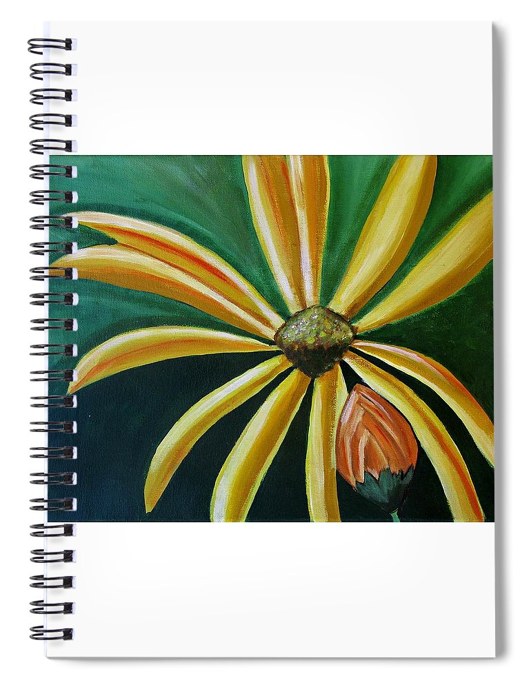 Abstract Painting Spiral Notebook featuring the painting Abstract Yellow Sunflower Art Floral Painting by Ai P Nilson