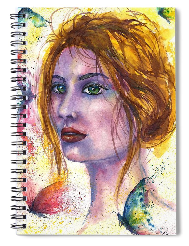 Women Face Spiral Notebook featuring the painting Abstract women face by Natalja Picugina