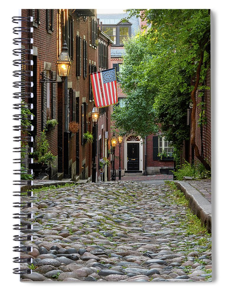 Acorn St. Spiral Notebook featuring the photograph Acorn St. Boston Ma. by Michael Hubley