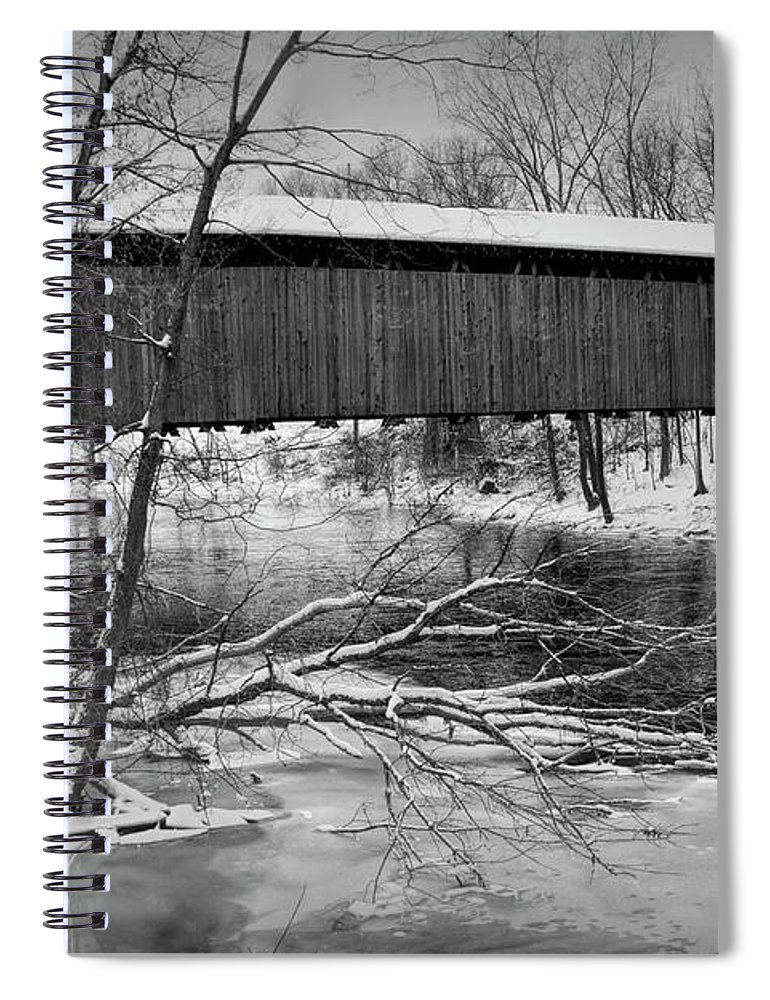 Bridge Spiral Notebook featuring the photograph Ada Covered Bridge In Winter by Randall Nyhof