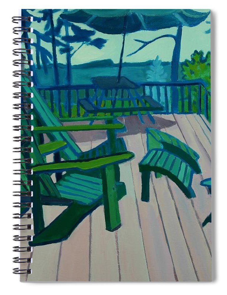 Ocean Spiral Notebook featuring the painting Adirondack Chairs Maine by Debra Bretton Robinson