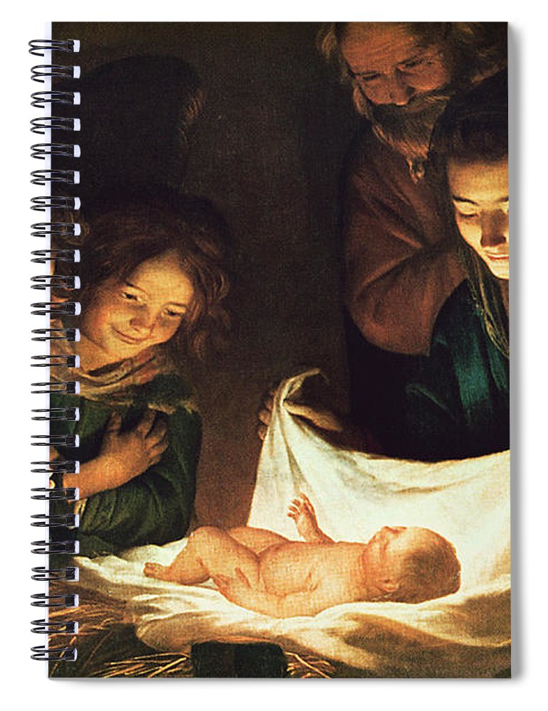 Adoration Of The Baby Spiral Notebook featuring the painting Adoration Of The Baby by Gerrit van Honthorst