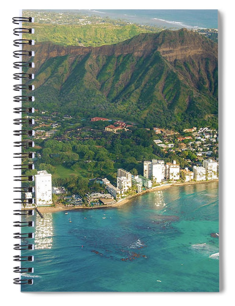 Aerial Spiral Notebook featuring the photograph Aerial - Diamond Head Crater, Honolulu, Hawaii 934 by D Davila