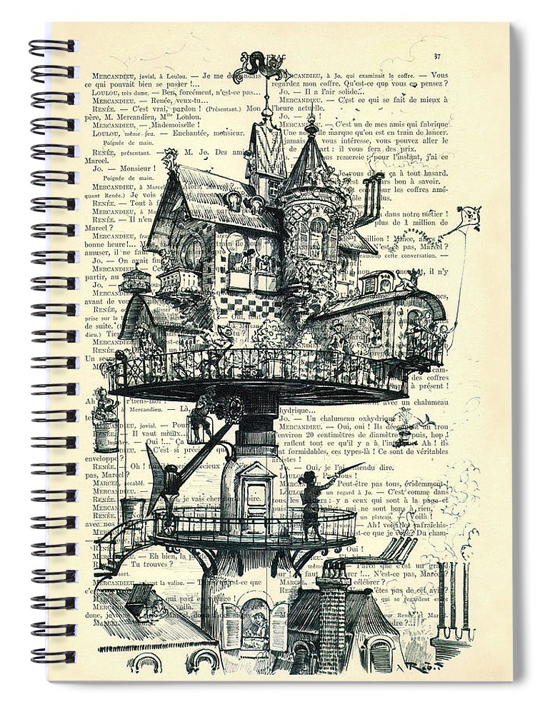 Aerial House Framed Prints Spiral Notebook featuring the digital art Aerial House Black And White Antique Illustration by Madame Memento