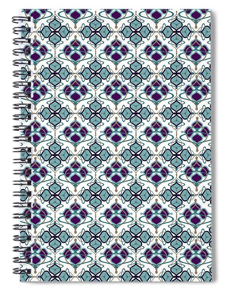 Blue Pattern Spiral Notebook featuring the digital art Aerin by Ceil Diskin